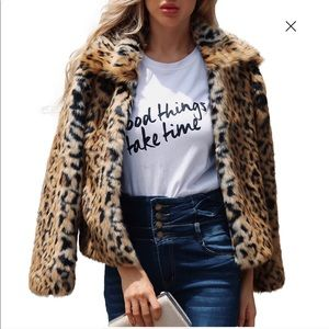 Moda international animal print Faux Fur bomber